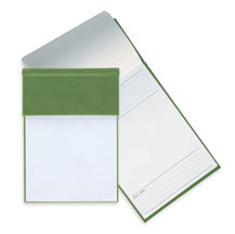 green faux leather note pad holder